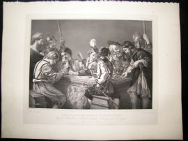 After Caravaggio C1840 LG Folio Print. Roman Soldier Playing Dice